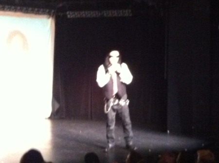 Tommy Wiseau at UW's Ethnic Cultural Theater, iPhone pic by me.